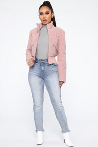 Envy Me Fuzzy Bomber - Pink