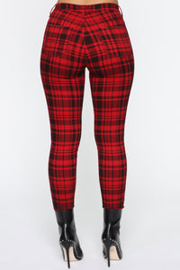 See Me In Print Skinny Pants - Red Angle 6