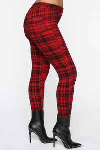 See Me In Print Skinny Pants - Red Angle 1