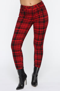 See Me In Print Skinny Pants - Red Angle 3
