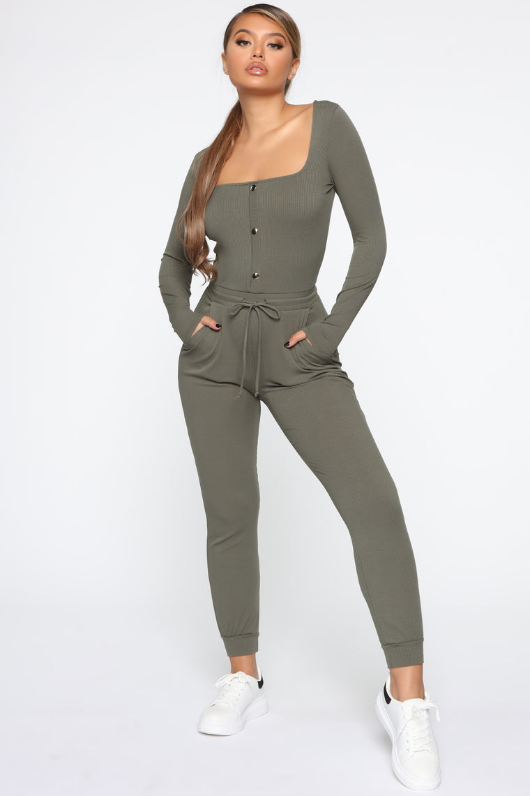 Totally Convenient Jogger Jumpsuit   Olive by Fashion Nova