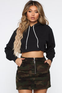Thought You were Chill Crop Hoodie - Black