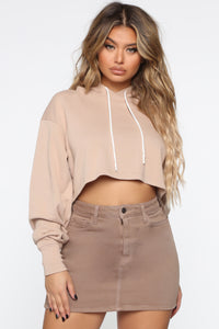 Thought You were Chill Crop Hoodie - Mocha