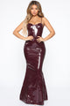 She Is Dynamite Latex Maxi Dress - Wine