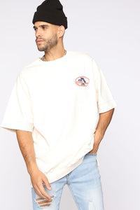 Club 69 Heavy French Terry Short Sleeve Tee - Cream/combo