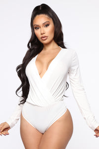 Small Little Lies Surplice Bodysuit - White Angle 1