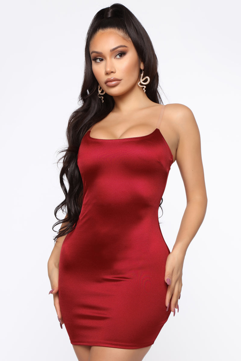 Last Call Satin Mini Dress - Burgundy