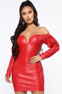 All For The Sass PU Mini Dress - Red Angle 2