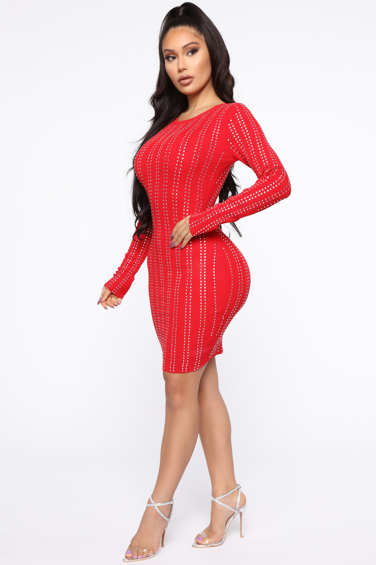 Join The Group Chat Sweater Dress - Red