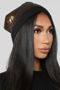 Follow The Sequins Beanie - Gold/Black