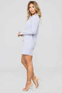 The Morning After Mini Dress - White/Blue
