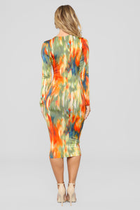 Painting Pictures Dress - Orange Multi