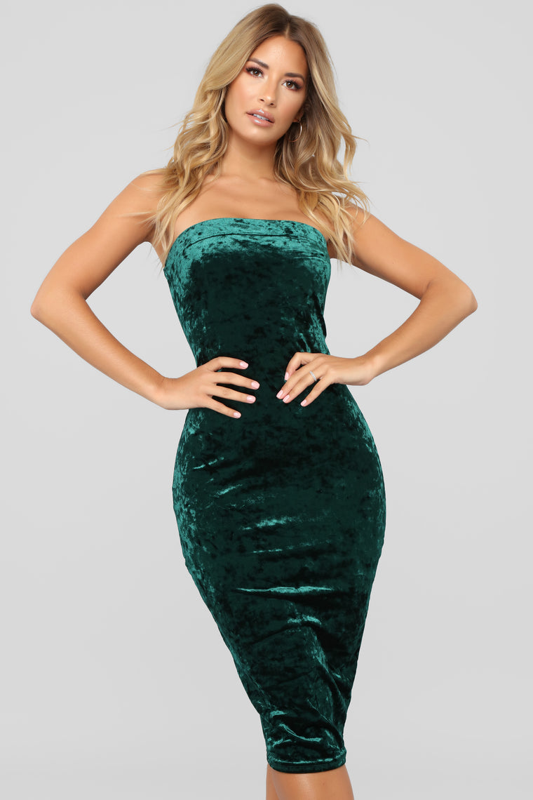 Kaylene Velvet Midi Dress - Hunter