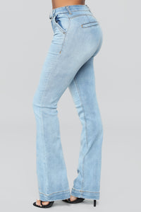 A Game Belted Flare Jeans - Medium Blue Wash
