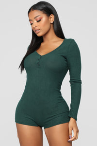 Your One And Only Sleep Romper - Hunter Green