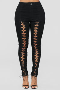 Ride Up On Them Lace Up High Rise Jeans - Black