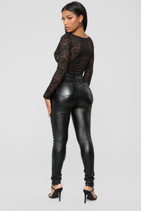 Night After Night Long Sleeve Bodysuit - Black