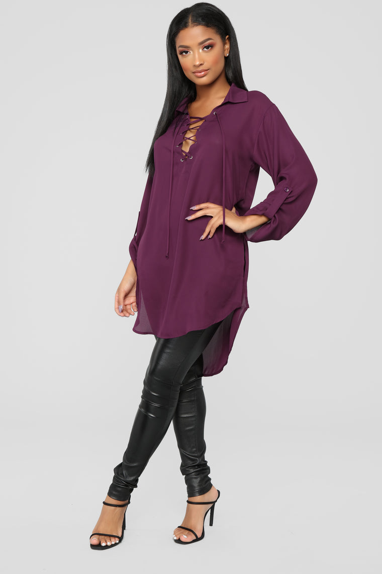 All Mine Lace Up Tunic - Eggplant