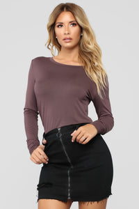 Feels Like Butter Long Sleeve Tee - Plum Brown
