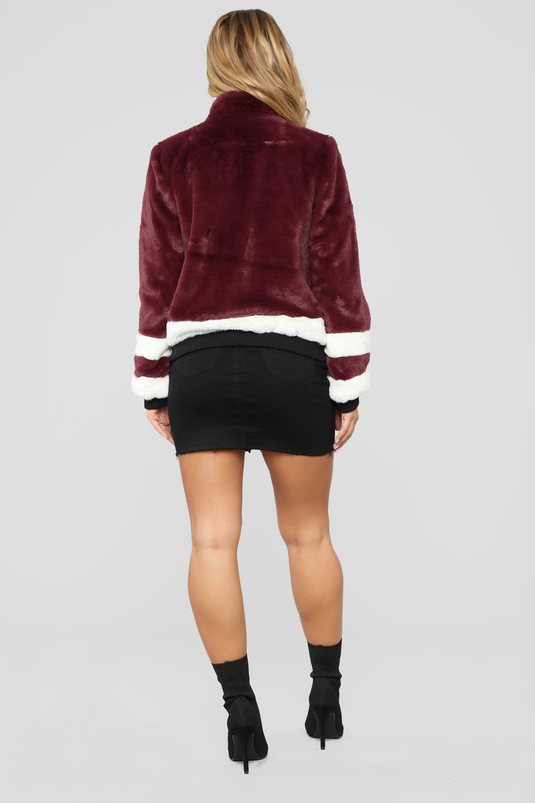 That's What I Like Fur Bomber - Burgundy
