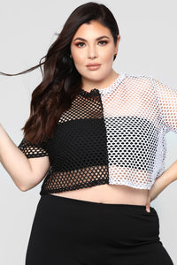 A Hole Lot Of Women Short Sleeve Top - Black/White Angle 5