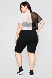 A Hole Lot Of Women Short Sleeve Top - Black/White Angle 9