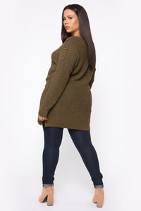Cuddled Up Tunic Sweater - Olive