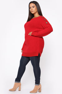 Cuddled Up Tunic Sweater - Red