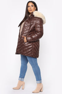 On The Go Puffer Jacket - Brown/Combo Angle 9