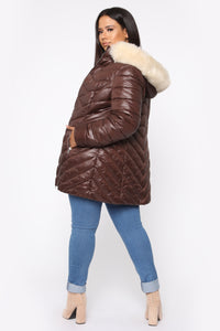 On The Go Puffer Jacket - Brown/Combo Angle 10