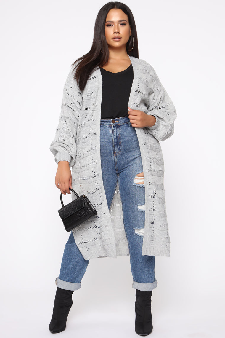 Love Is Forever Long Line Cardigan   Grey by Fashion Nova