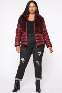 In The Loop Puffer Jacket - Burgundy Angle 7