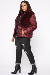 In The Loop Puffer Jacket - Burgundy Angle 9