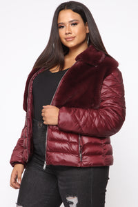 In The Loop Puffer Jacket - Burgundy Angle 8