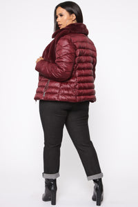 In The Loop Puffer Jacket - Burgundy Angle 10