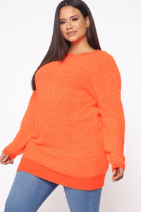 Cool Off You Tunic Sweater - Neon Coral