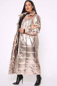 Reign Puffer Coat - Rose Gold Angle 7