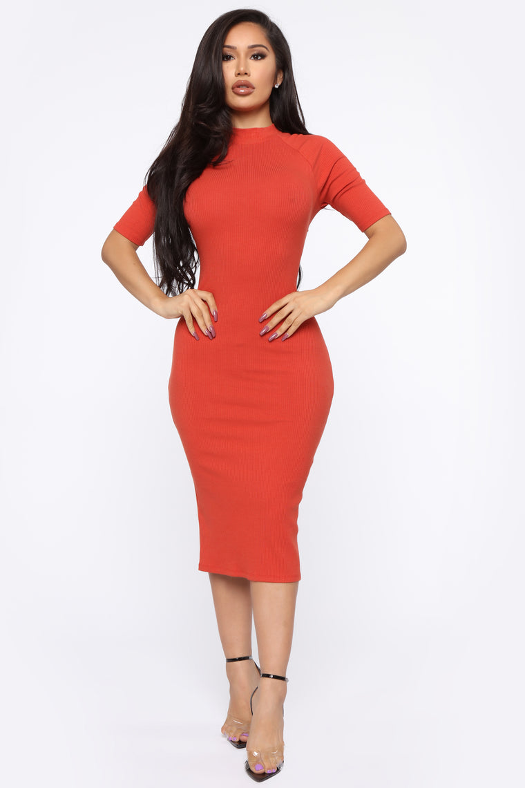 Get The Look Midi Dress - Terracotta
