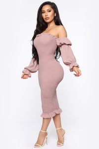 Soft Lover Smocked Midi Dress - Mauve