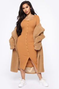 Beverly Button Front Midi Dress - Camel Angle 1