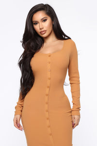 Beverly Button Front Midi Dress - Camel Angle 2