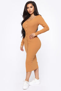 Beverly Button Front Midi Dress - Camel Angle 3