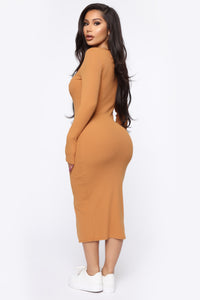 Beverly Button Front Midi Dress - Camel Angle 4