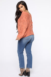 The Right Kind Of Chunky Sweater - Rust