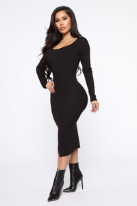 Beverly Button Front Midi Dress - Black Angle 3