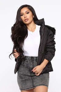 I Got You Covered Puffer Jacket - Black Angle 1