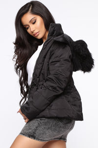 I Got You Covered Puffer Jacket - Black Angle 3