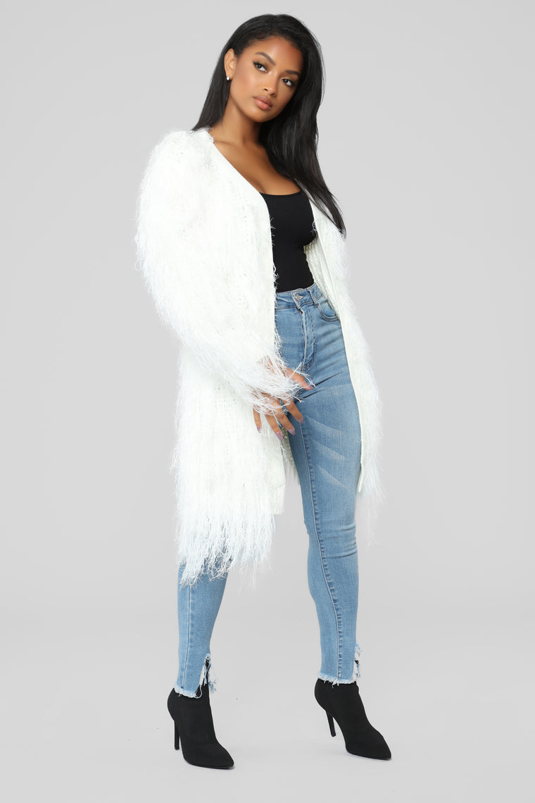Luxe Love Fuzzy Duster - Ivory