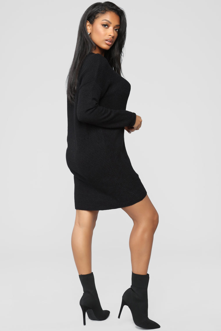 I'm With You Sweater Dress - Black