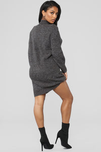 Cold Winter Nights Sweater Dress - Charcoal